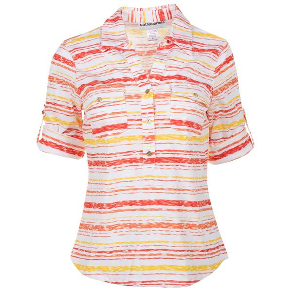 Women's Coral Roll Tab Sleeve Y Neck Print Top