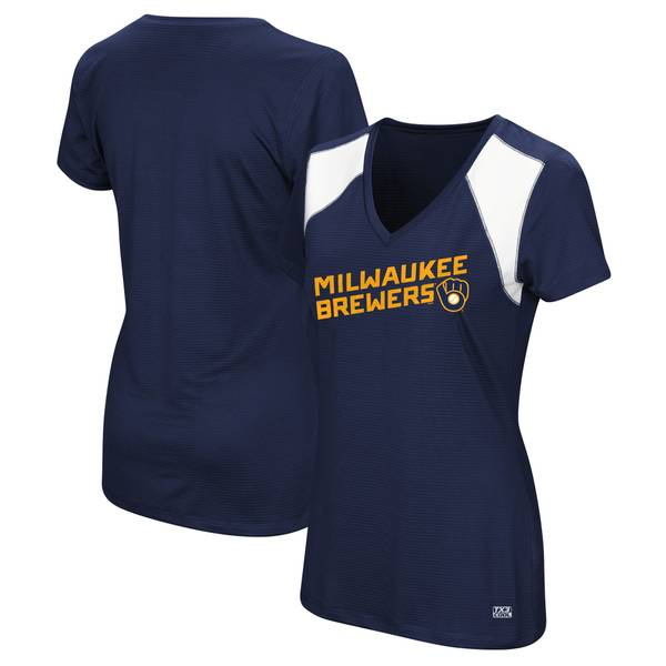 Women's Milwaukee Brewers Short Sleeve V-Neck Sleek Spirit Top
