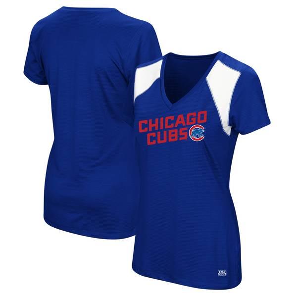 Women's Chicago Cubs Short Sleeve V-Neck Sleek Spirit Top