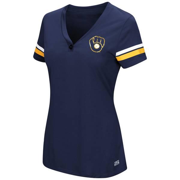 Women's Sparkling Fun Milwaukee Brewers Short Sleeve V-Neck T-Shirt