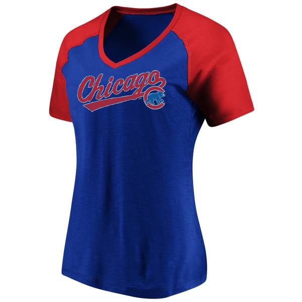 Women's High Percentage Chicago Cubs Short Sleeve V-Neck Top