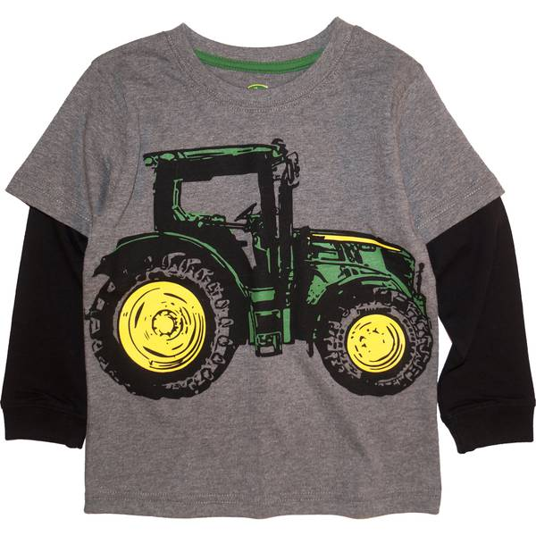 9dac1ede5 John Deere Toddler Boys' Grey Long Sleeve Big Tractor Tee