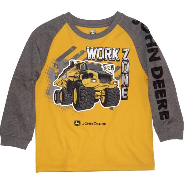 80cc3736d John Deere Little Boys' Grey Grey & Yellow Long Sleeve Work Zone Tee
