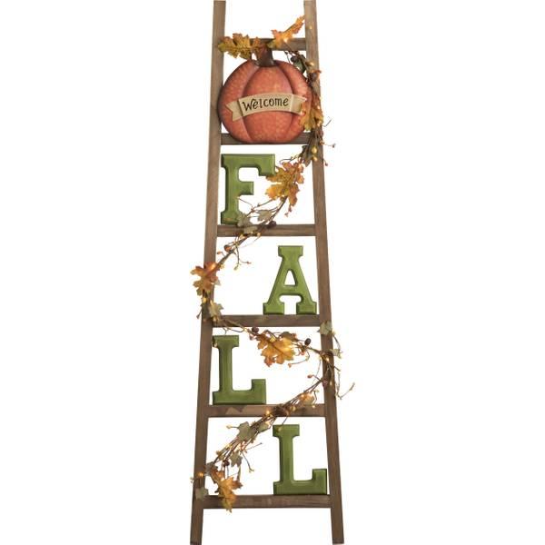 Wood Light Up Fall Ladder Decor