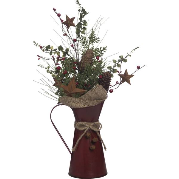 "19"" Metal Rustic Red & Greens Pitcher Decor"