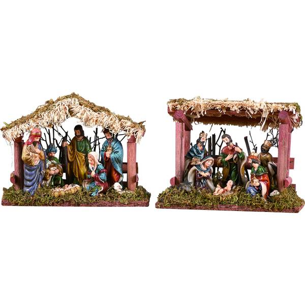 Wood & Ceramic Nativity with Creche Assorted