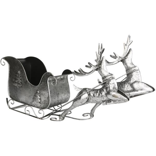 Transpac Metal Sleigh W/Reindeer