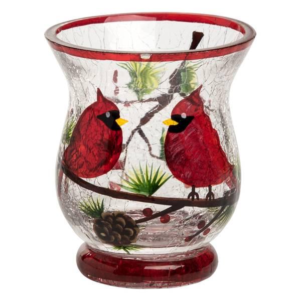 Crackle Glass Cardinal Hurricane Figure