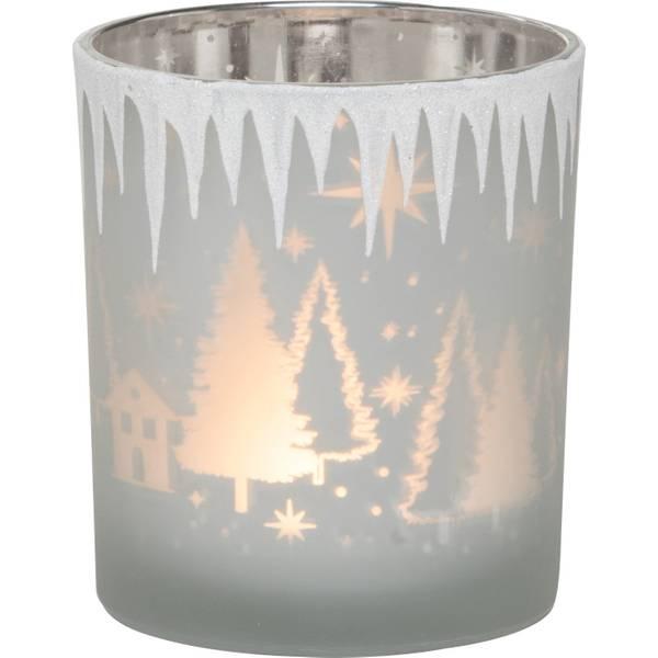 Glass Christmas Scene Candle Holder