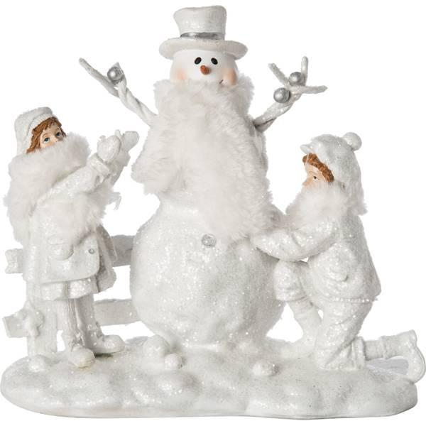 Resin Kids Building Snowman Figure