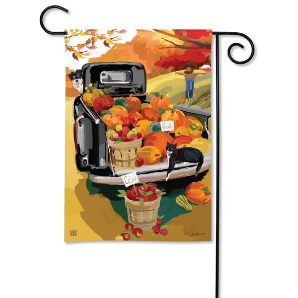 """18"""" x 12.5"""" Pumpkin Truck Garden Flag"""