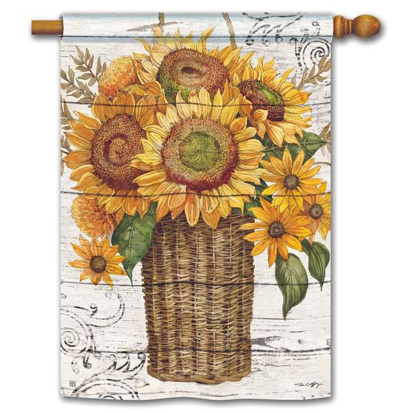 "40"" x 28"" Farmhouse Sunflower House Flag"