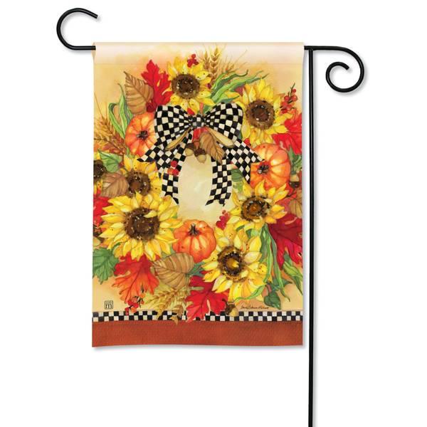 "18"" x 12.5"" Sunflower Wreath Garden Flag"
