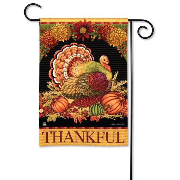 "18"" x 12.5"" Thankful Turkey Garden Flag"