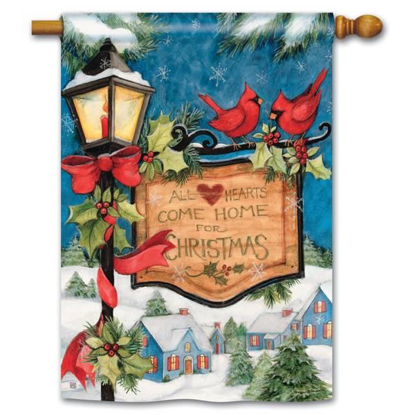 """40"""" x 28"""" Hometown Christmas House Flag"""