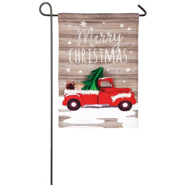 "18"" x 12.5"" Vintage Christmas Truck Garden Flag"
