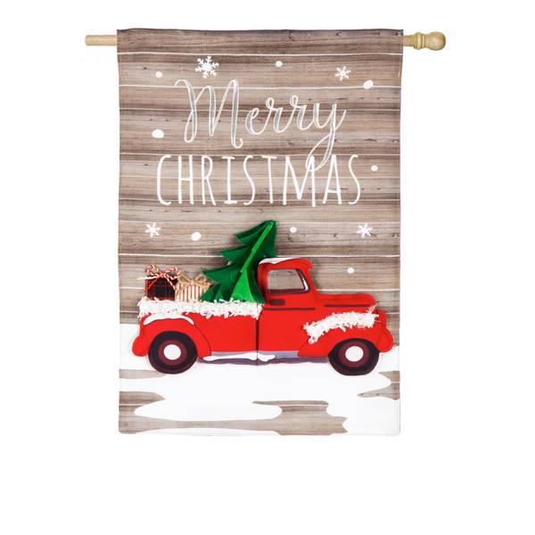 "28"" x 44"" Vintage Christmas Truck House Flag"