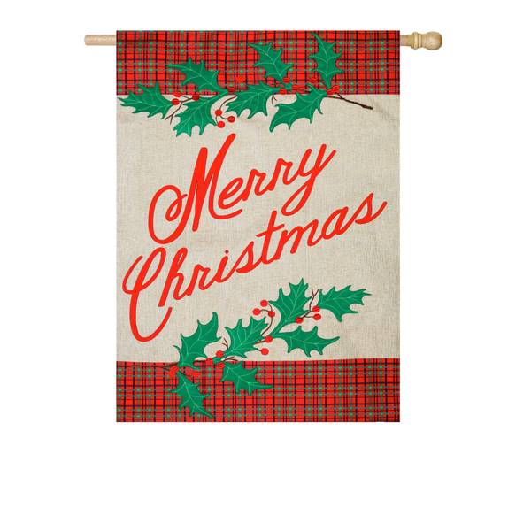 "28"" x 44"" Merry Christmas Plaid House Flag"