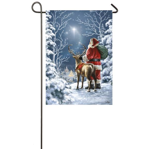 "18"" x 12.5"" Starry Night Santa Garden Flag"