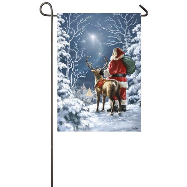 "18"" x 12.5"" Starry Night Santa Garden Flag"