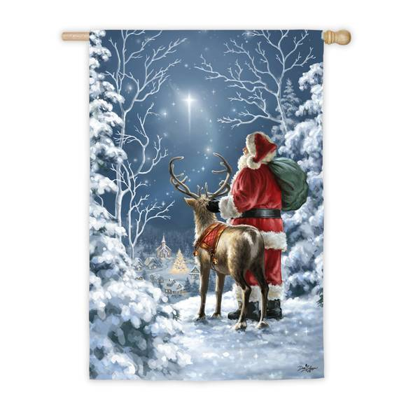 "18"" x 12.5"" Starry Night Santa House Flag"