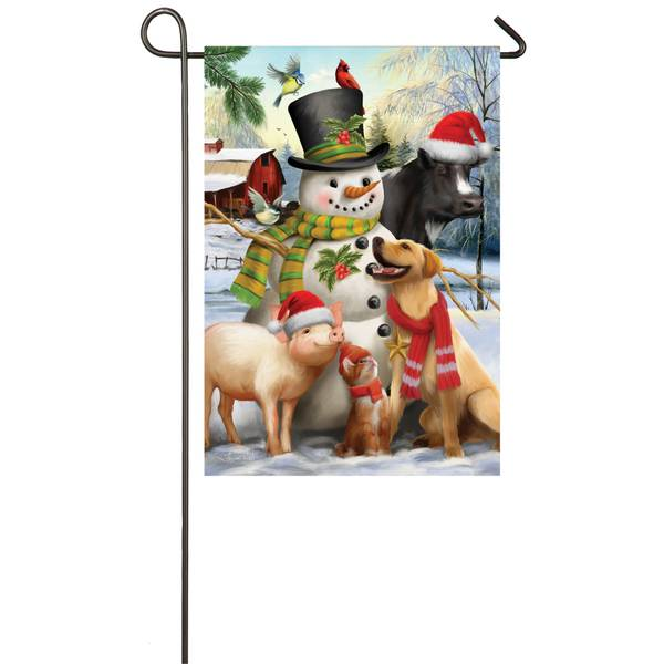 "18"" x 12.5"" Winter Friends Garden Flag"