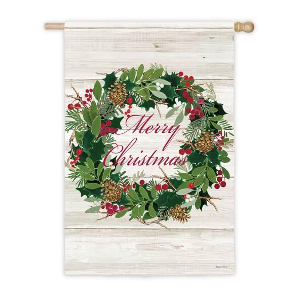 """28"""" x 44"""" Merry Christmas Wreath House Flag"""
