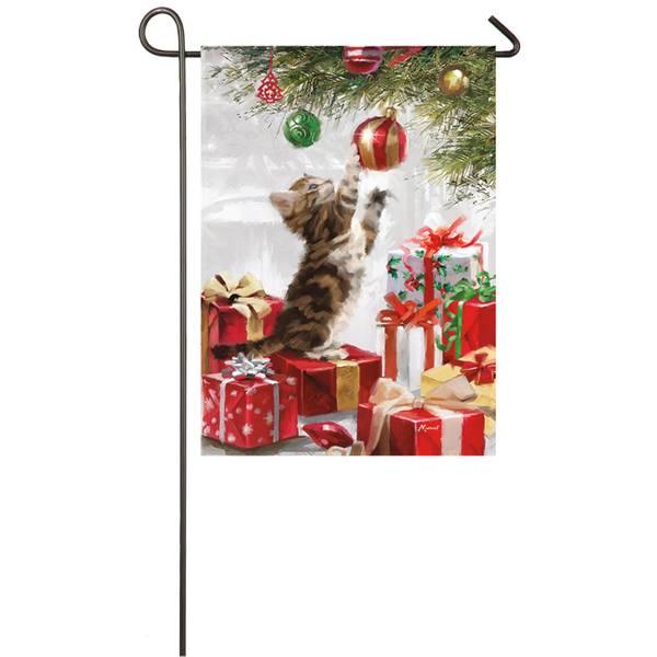 """18"""" x 12.5"""" Christmas Kitten Garden Flag"""