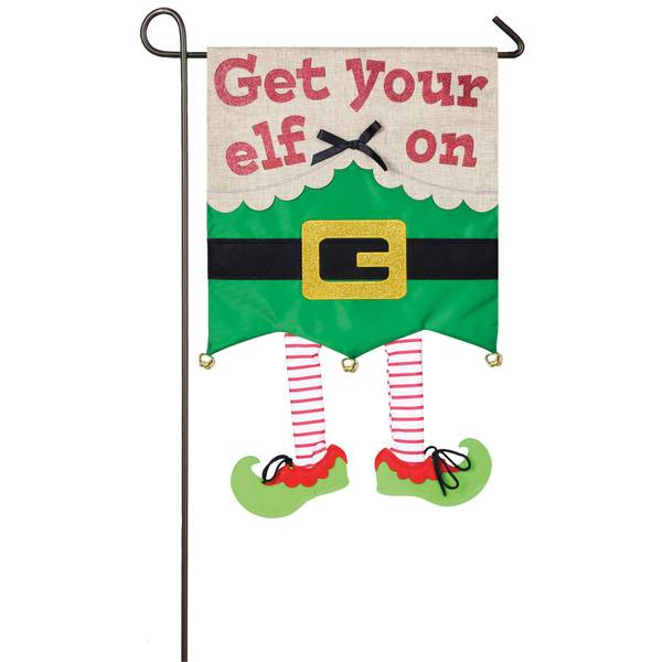 "18"" x 12.5"" Get Your Elf On Garden Flag"