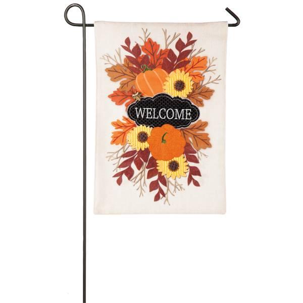 "18"" x 12.5"" Fall Floral Welcome Garden Flag"