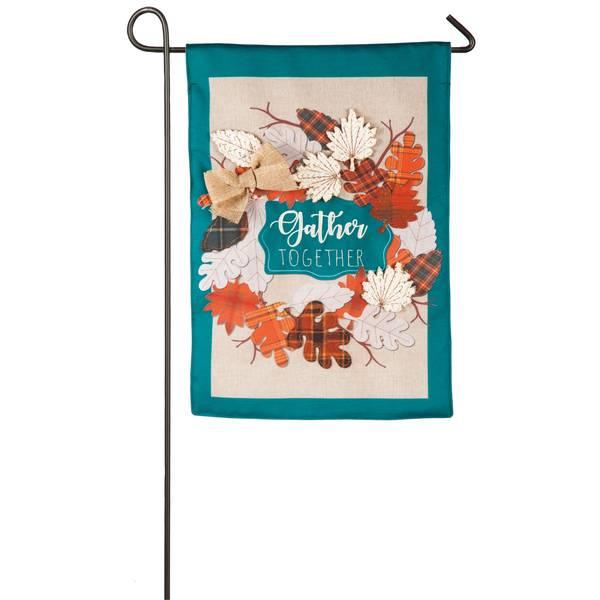 "18"" x 12.5"" Autumn Leaves Wreath Garden Flag"