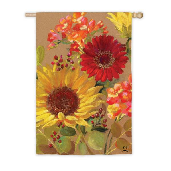 """18"""" x 12.5"""" Fall Floral Garden Flag"""