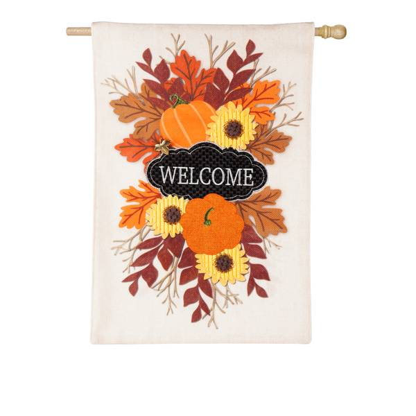 "28"" x 44"" Fall Floral Welcome House Flag"
