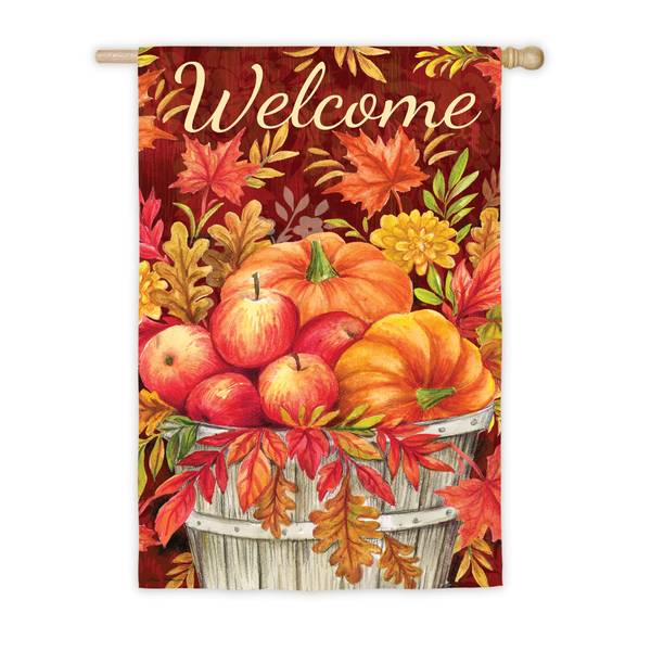 "28"" x 44"" Apples and Pumpkins House Flag"