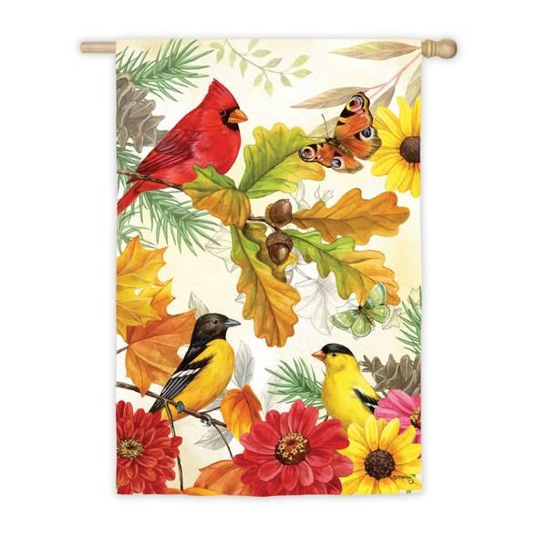 """28"""" x 44"""" Autumn Birds House Flag"""