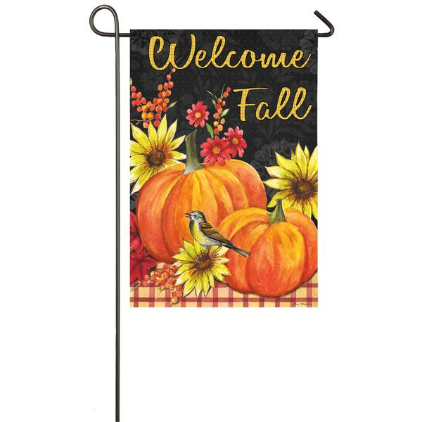 "18"" x 12.5"" Pumpkins and Sunflowers Garden Flag"