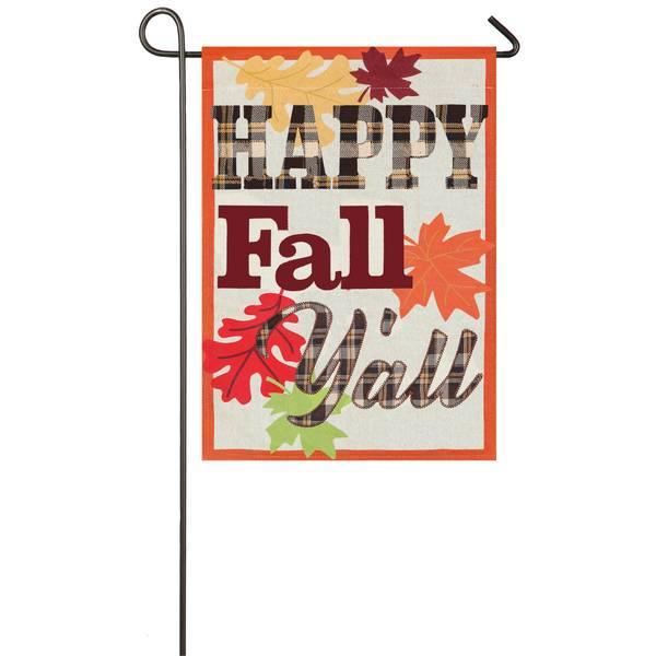 """18"""" x 12.5"""" Happy Fall Y'all Garden Flag"""
