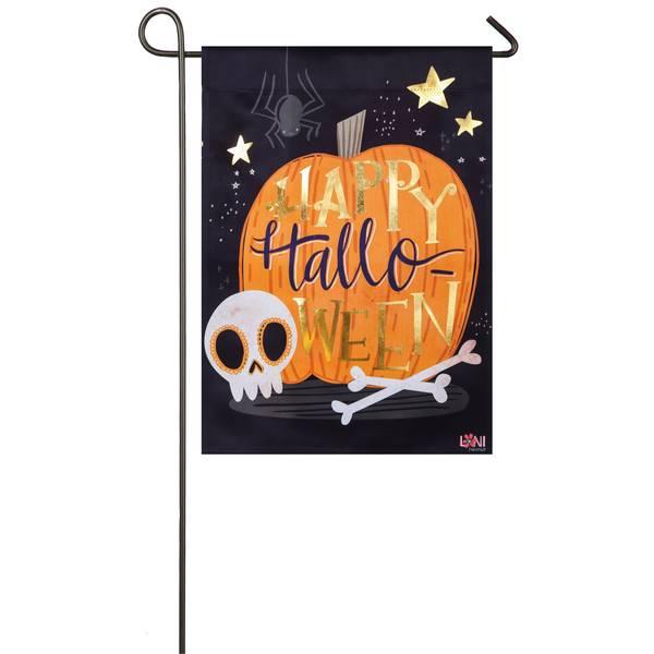 """18"""" x 12.5"""" Halloween Skull Garden Flag"""