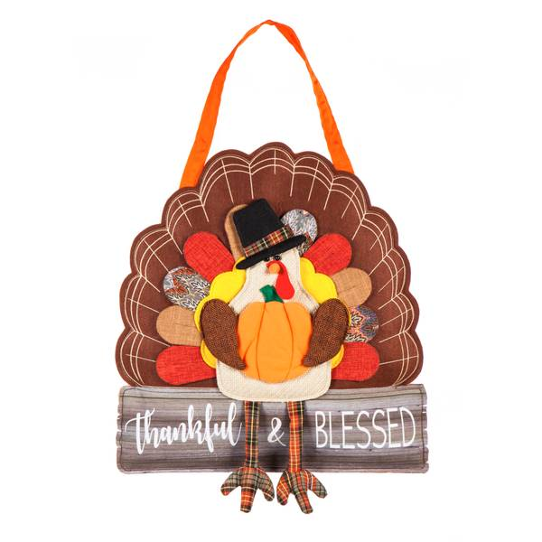 "21.25"" x 18"" Thankful and Blessed Turkey Door Decor"