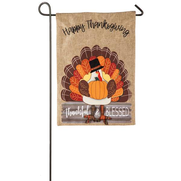 """18"""" x 12.5"""" Thankful and Blessed Turkey Garden Flag"""