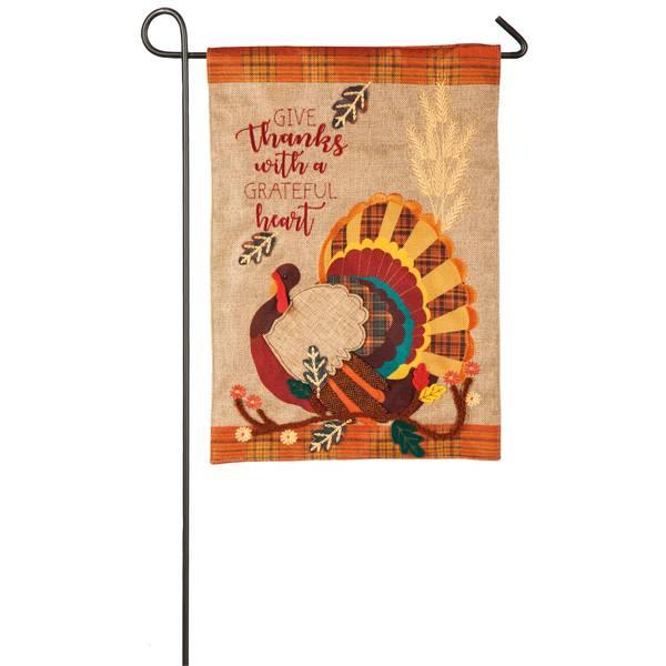 "18"" x 12.5"" Give Thanks Turkey Garden Flag"