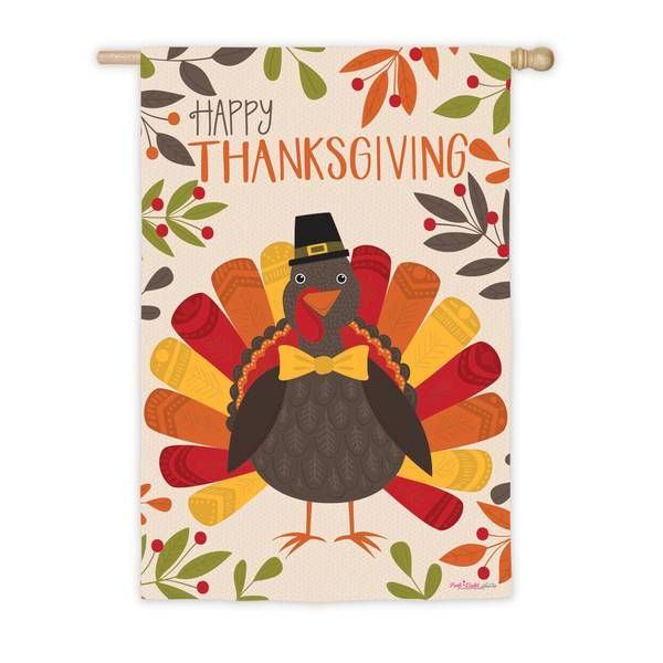 "18"" x 12.5"" Thanksgiving Turkey House Flag"