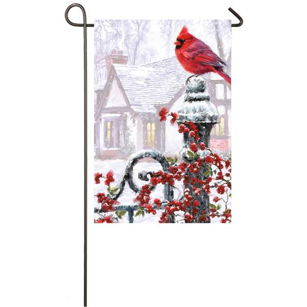 "18"" x 12.5"" Winter Cardinal Garden Flag"