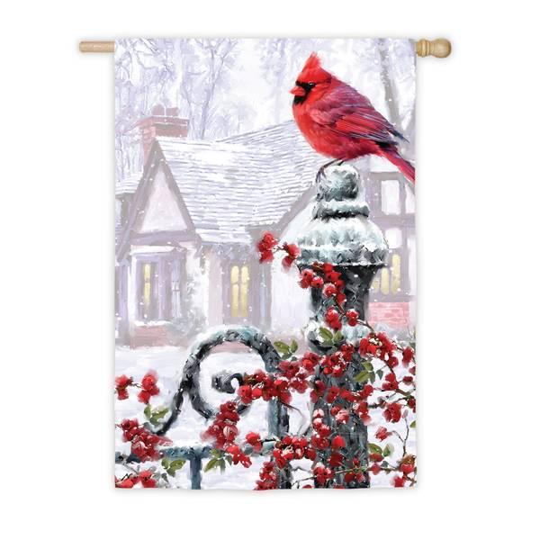 """28"""" x 44"""" Winter Cardinal House Flag"""