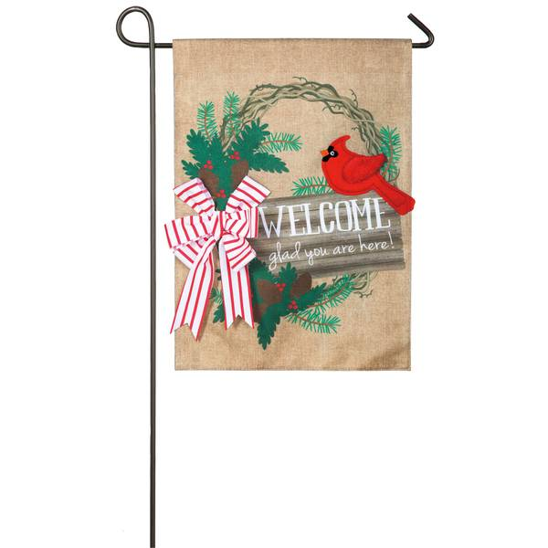 """18"""" x 12.5"""" Glad Your Are Here Garden Flag"""