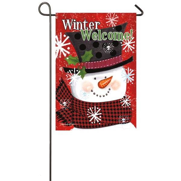 "18"" x 12.5"" Winter Welcome Snowman Garden Flag"