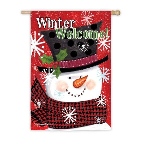 "28"" x 44"" Winter Welcome Snowman House Flag"