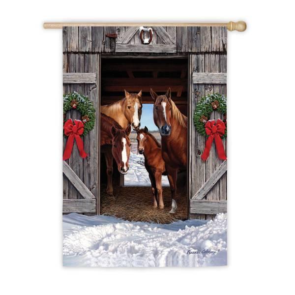 """18"""" x 12.5"""" Horse Family Christmas Garden Flag"""