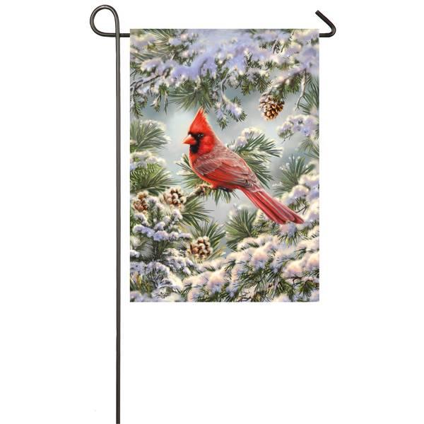 "18"" x 12.5"" Snowy Cardinal Garden Flag"
