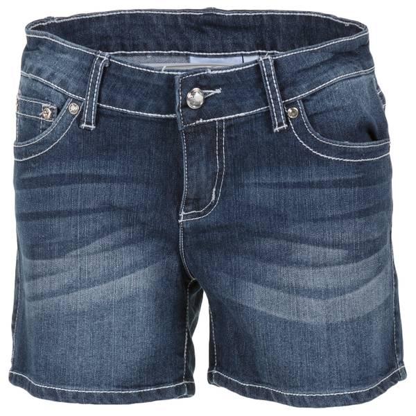 """Women's Dark Wash 5"""" Heavy Stitch Stone Pocket Shorts"""